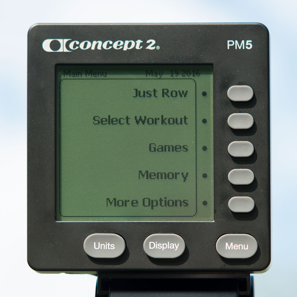 Closeup of the Concept 2 PM5 performance monitor.