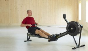 Concept 2 Model D indoor rower in use.